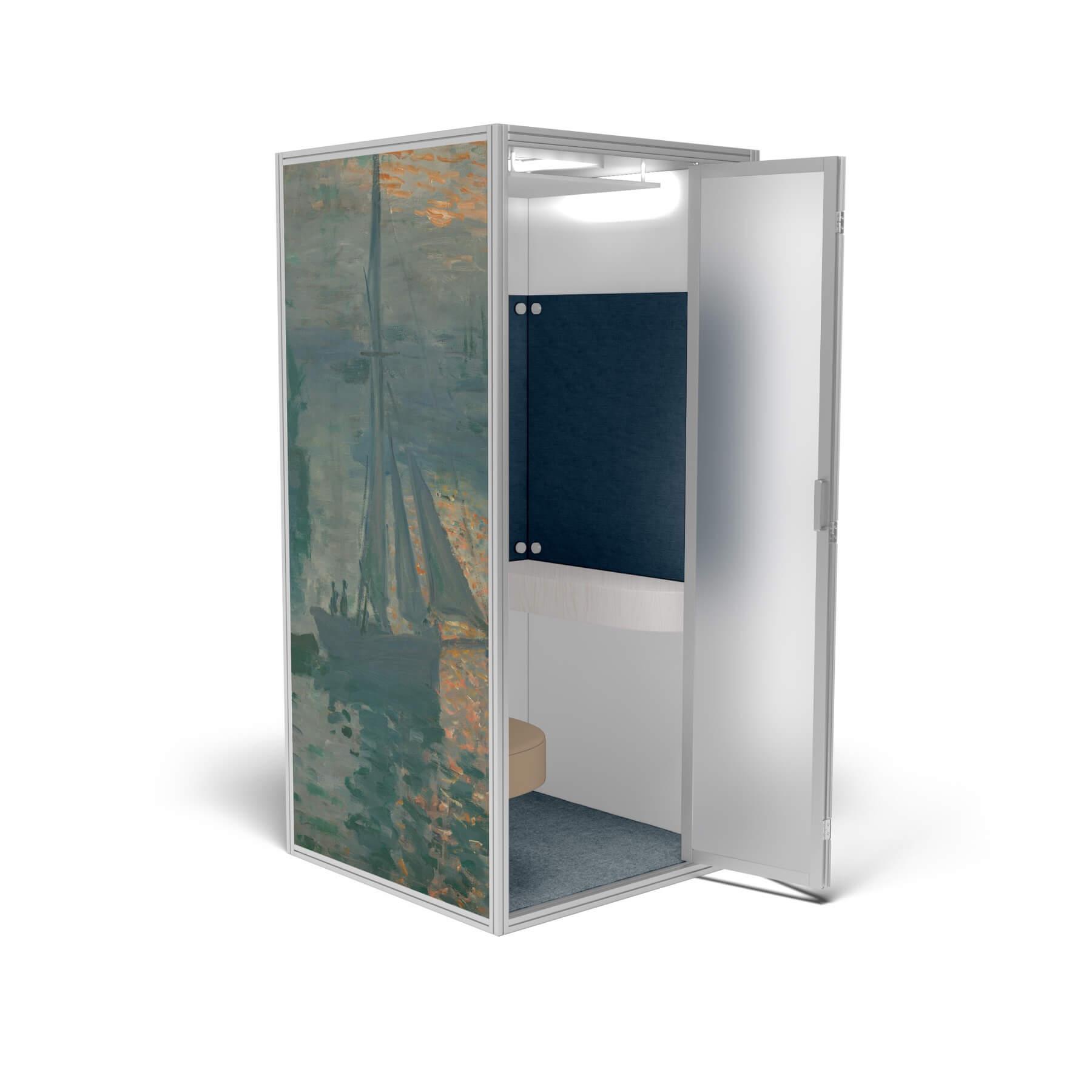 Modern phone booth monet sunrise