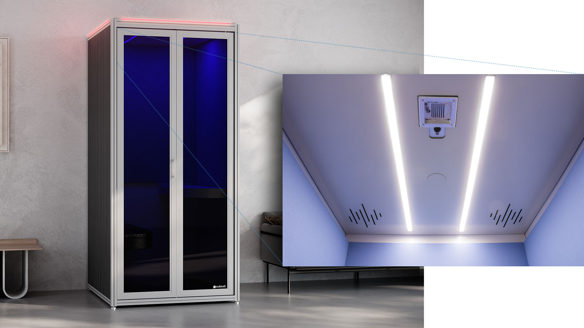 UV Phone Booth for After-use Disinfection Features